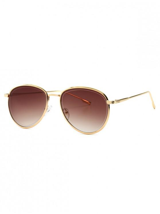 outfit Colorful Design Alloy Frame Sunglasses - COFFEE