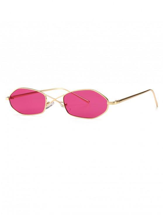trendy Unique Irregular Shape Sunglasses - DEEP PINK