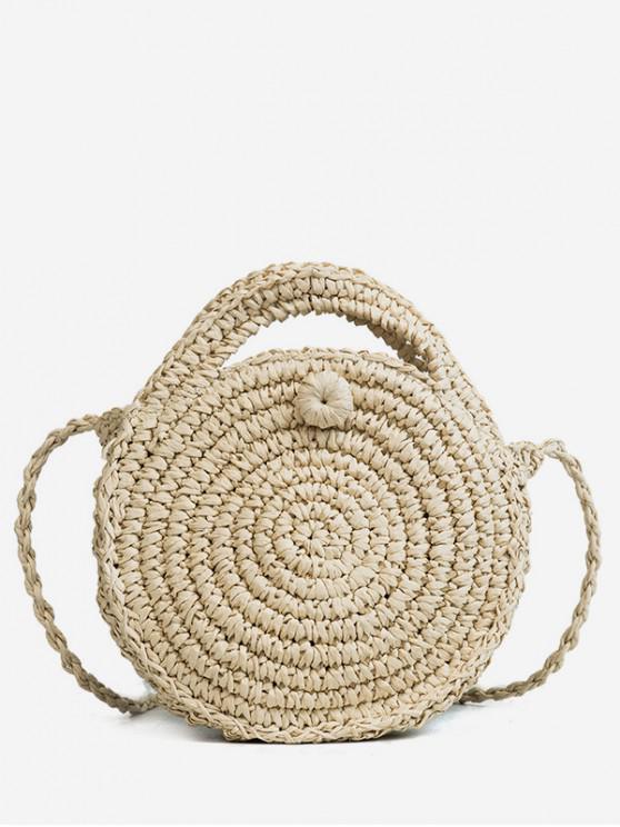 unique Round Straw Beach Canteen Handbag - BEIGE
