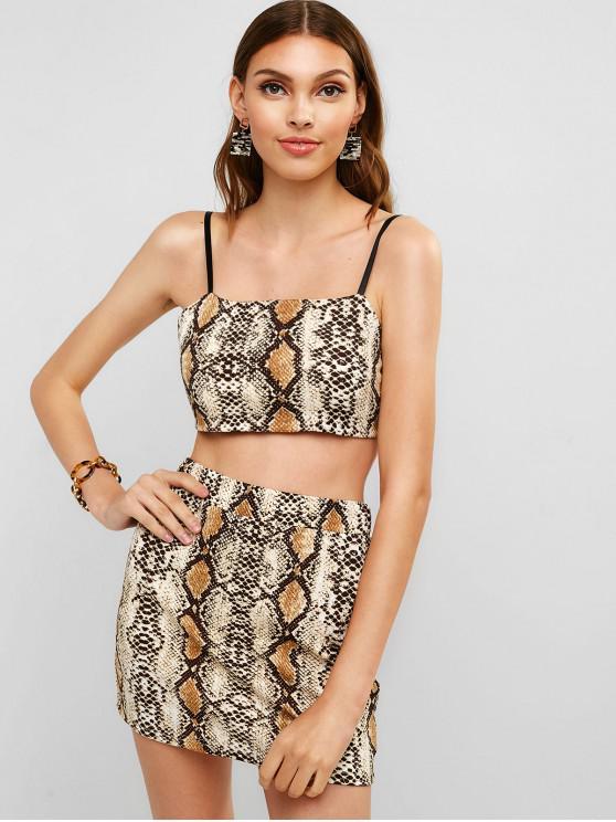 trendy ZAFUL Snakeskin Print Cami Top and Skirt Set - MULTI L