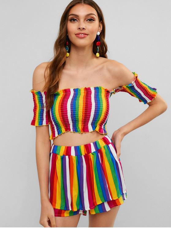 unique Off Shoulder Smocked Striped Shorts Set - MULTI XL