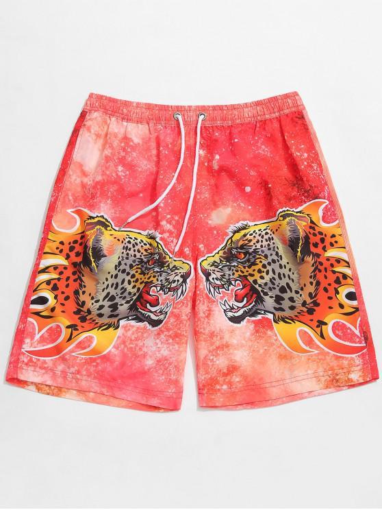 shop Double Leopards Print Drawstring Beach Shorts - VALENTINE RED L