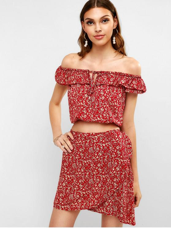 fashion Floral Print Top with Wrap Skirt Set - CHESTNUT RED L