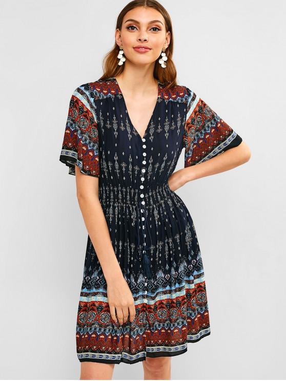 fashion Button Up Tassels Printed Dress - BLUE M