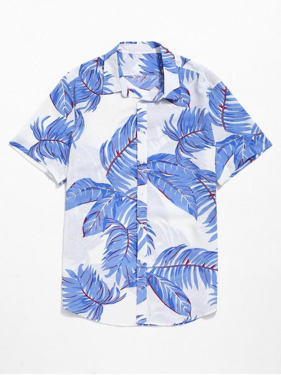 Hawaii Tropical Leaves Print Beach Hemd - Weiß M