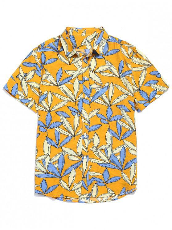 Allover Blätter Print Strand Shirt - Biene Gelb S