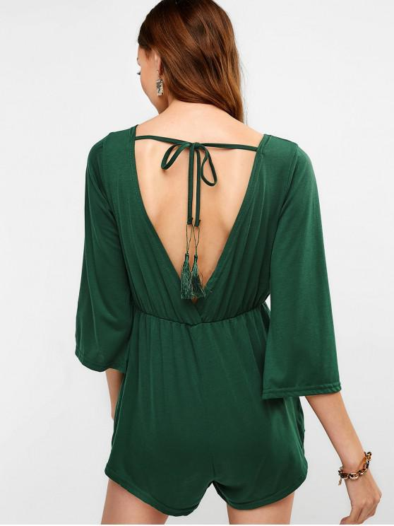 46d74b5c3e9 33% OFF   NEW  2019 V Neck Open Back Plain Romper In DEEP GREEN