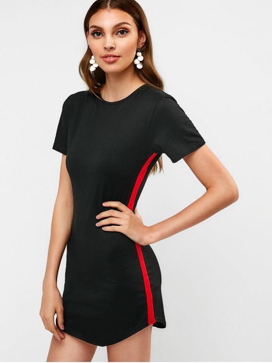 best Contrast Mini Tee Dress - BLACK L