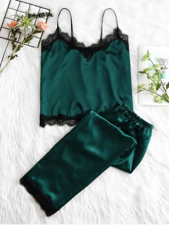 outfits Lace Insert Slip Pajama Pants Set - MEDIUM SEA GREEN M