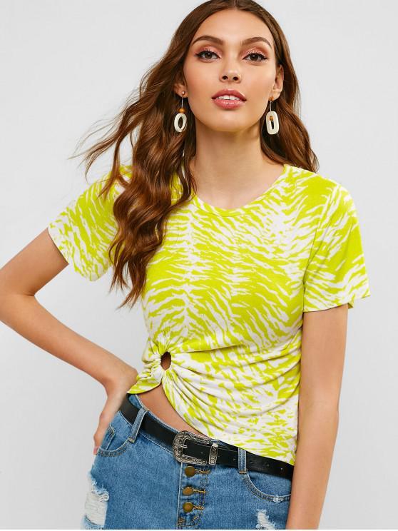 affordable ZAFUL Hoop Gathered Neon Tie Dye Tee - MULTI L