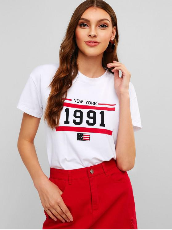 shop ZAFUL New York American Flag Graphic Tee - WHITE M