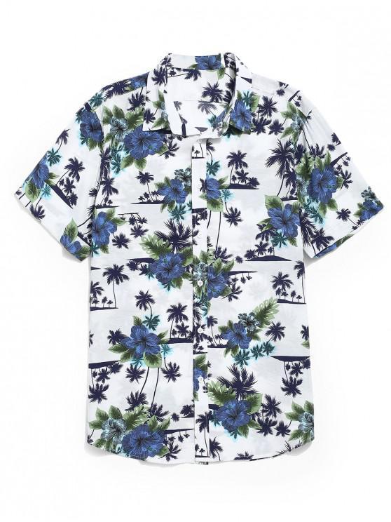 Blumen-Kokosnuss-Bäume drucken beiläufige Strand-Hemden - Weiß M