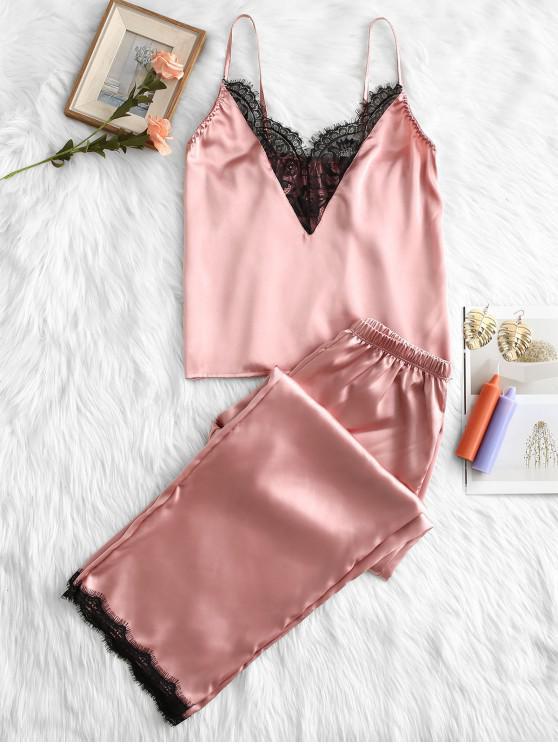 latest Slip Lace Insert Pajama Pants Set - PINK XL