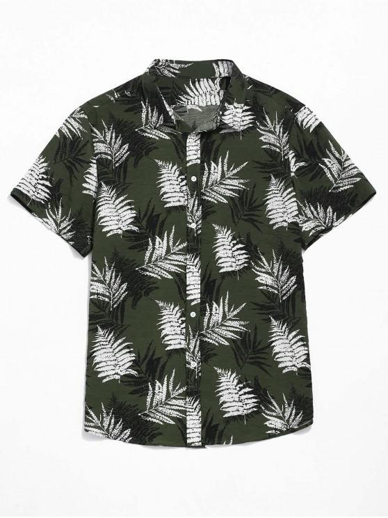 fashion Plant Leaves Print Causal Beach Shirt - ARMY GREEN L