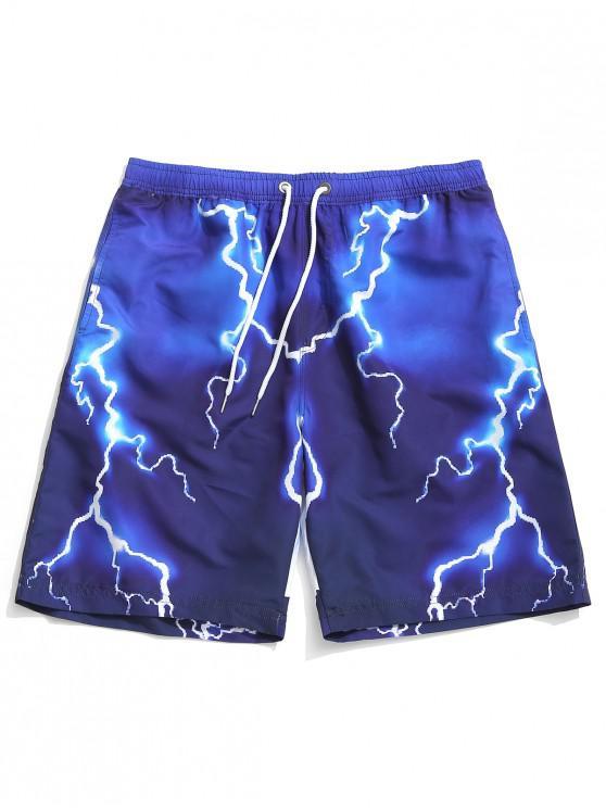 buy Rabbit Painting Print Beach Shorts - BLUEBERRY BLUE XL