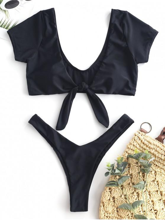lady ZAFUL Short Sleeve Tied Plunging Bikini Set - BLACK S