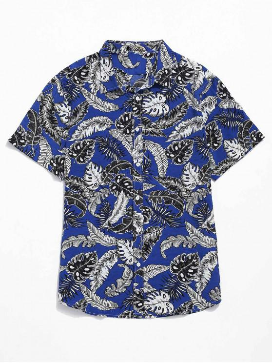 Lässige Tropical Leaves Print Beach Shirt - Marinblau L