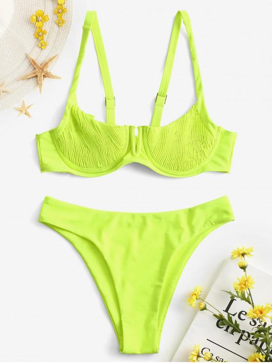 e6775f82aae9bc 32% OFF   HOT  2019 ZAFUL Underwire Shirred Balconette Bikini Set In ...