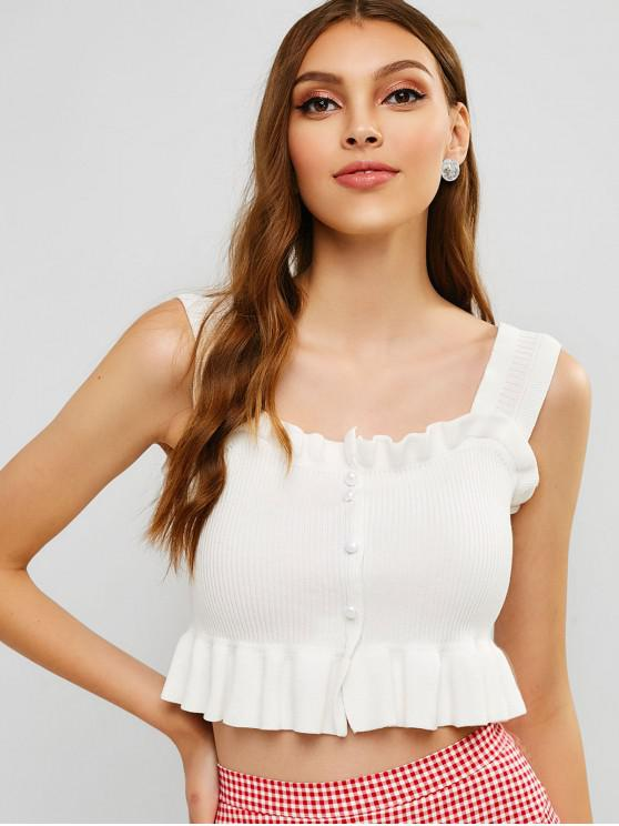 ladies Ruffles Buttoned Knit Tank Top - WHITE ONE SIZE