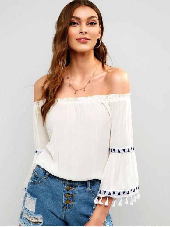 womens Embroidered Tassels Off Shoulder Blouse - WHITE S