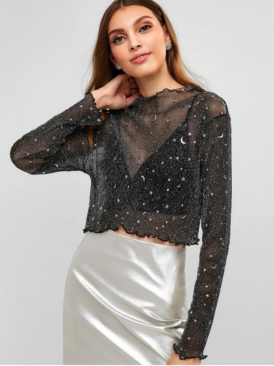 ladies See Through Shiny Stars Moon Top - BLACK L