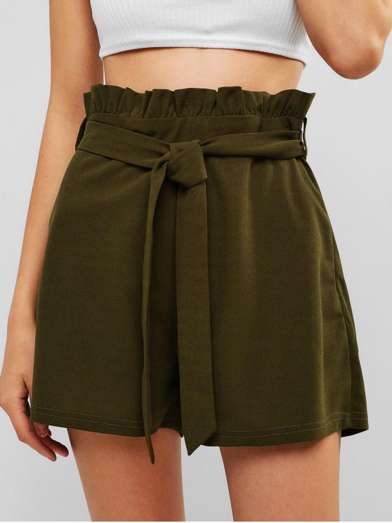 ZAFUL Shorts de cintura alta con volantes - Ejercito Verde L