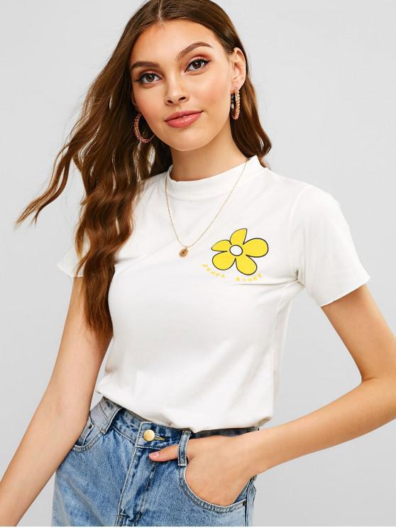 Camiseta de manga corta con estampado floral de letras - Blanco Única Talla