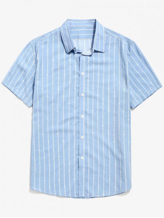 sale Button Up Stripes Print Beach Shirt - SKY BLUE XL