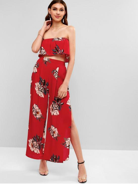 sale Floral Bandeau Top and Split Pants - LAVA RED M