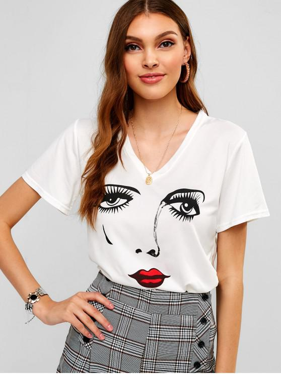 outfit V Neck Face Graphic Tee - WHITE M