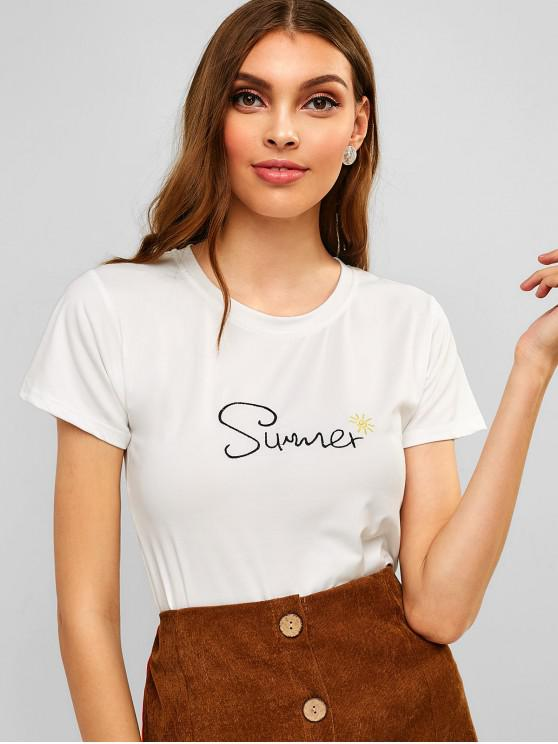 buy Round Neck Letter Embroidered Tee - WHITE M