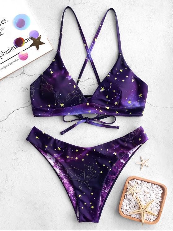 fashion ZAFUL Galaxy Print Crisscross Reversible Bikini Set - PURPLE AMETHYST S