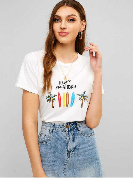 women's Coco Tree Print Soft Graphic Tee - WHITE L