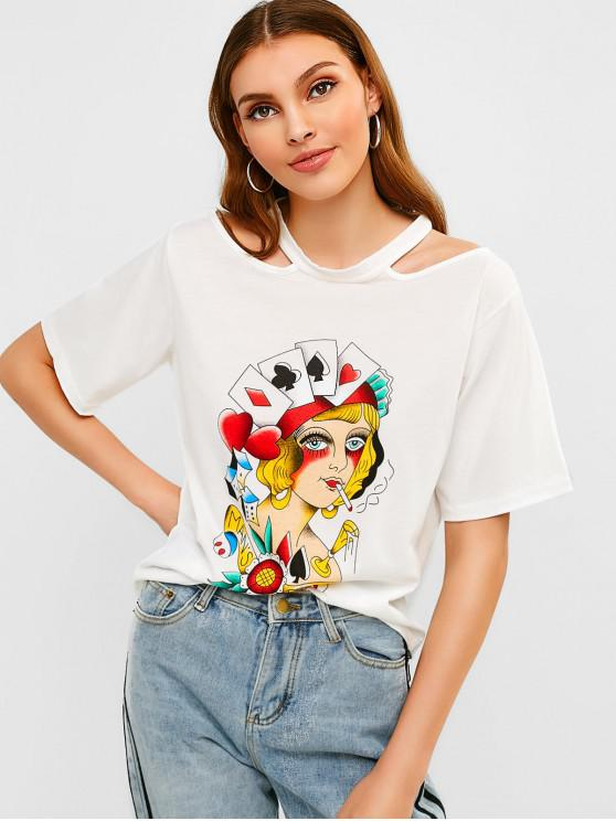 fancy Cut Out Shoulder Graphic Tee - WHITE S