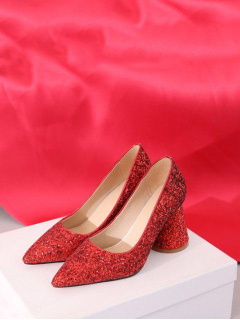 ladies Sequins Design Chunky Heel Pumps - RED EU 41 Mobile