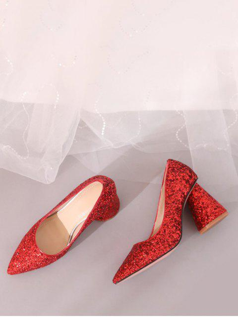 unique Sequins Design Chunky Heel Pumps - RED EU 39 Mobile