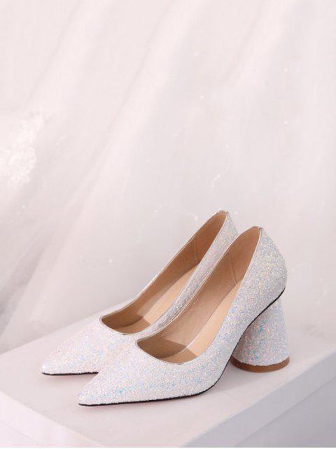 fashion Sequins Design Chunky Heel Pumps - WHITE EU 41 Mobile