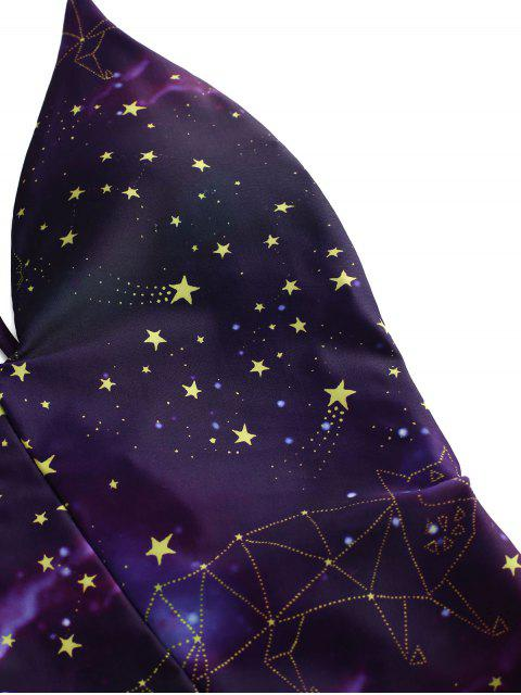 new ZAFUL Dropped Armhole Galaxy Print Strappy Swimsuit - PURPLE AMETHYST XL Mobile