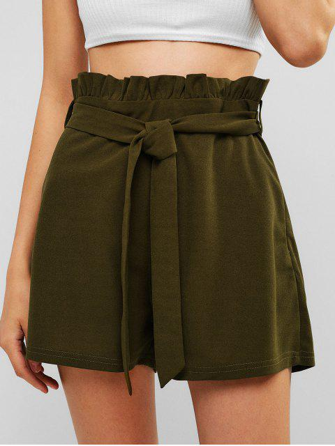 women ZAFUL High Waisted Belted Ruffled Shorts - ARMY GREEN L Mobile