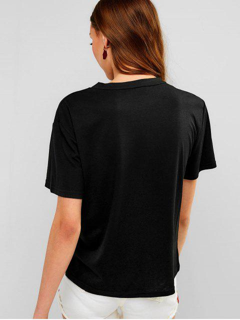 outfits Short Sleeves Casual Graphic Tee - BLACK XL Mobile