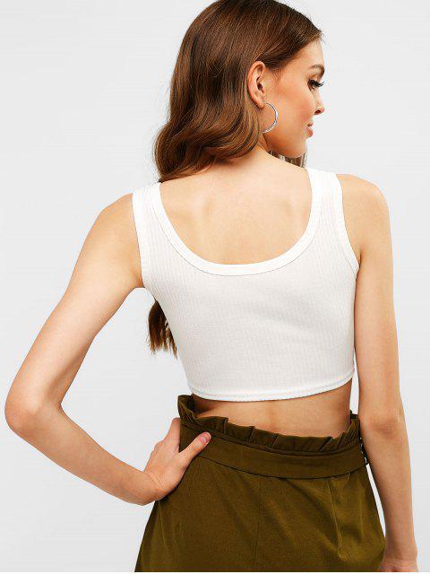 shop U Neck Buttoned Crop Tank Top - WHITE L Mobile