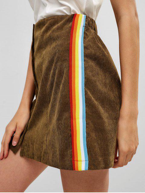 fancy Rainbow Striped Corduroy Mini Skirt - BROWN L Mobile