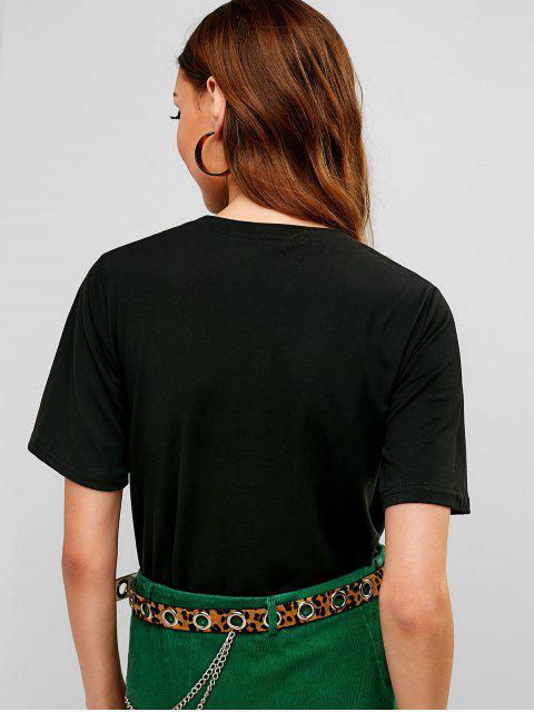 T-shirt Graphique Léopard - Noir L Mobile