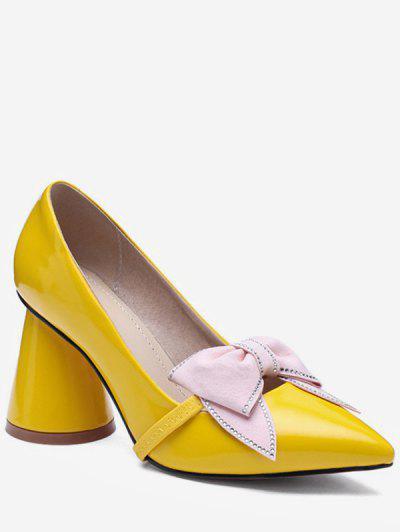 27aa51bab39 Bowknot Design Chunky Heel Pumps - Yellow Eu 36 ...