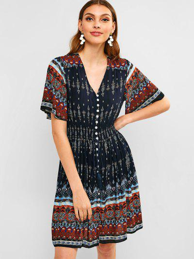 ddfbebcfd5 Button Up Tassels Printed Dress - Blue M ...