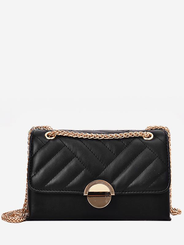 Round Buckle Quilted Crossbody Bag, Black
