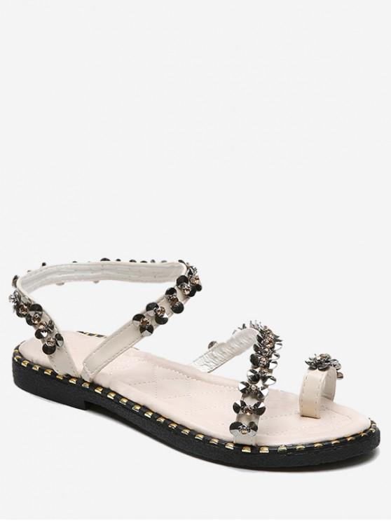 sale Sequined Toe Loop Flat Sandals - WARM WHITE EU 38