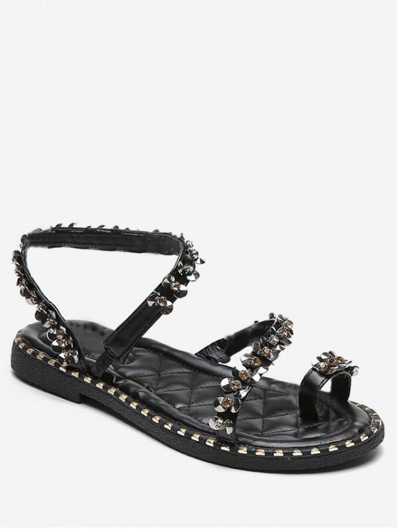women's Sequined Toe Loop Flat Sandals - BLACK EU 35