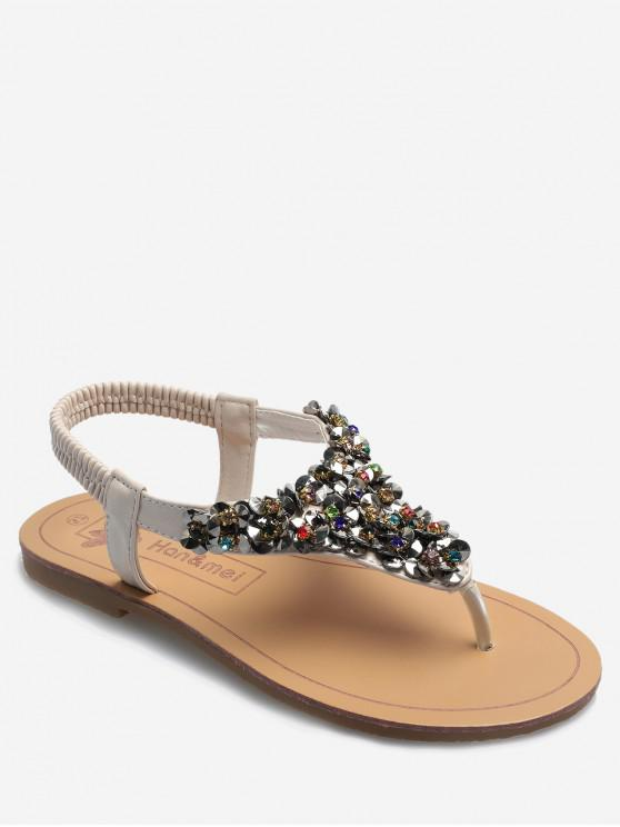 outfit Beaded Toe Thong Flat Sandals - WARM WHITE EU 38