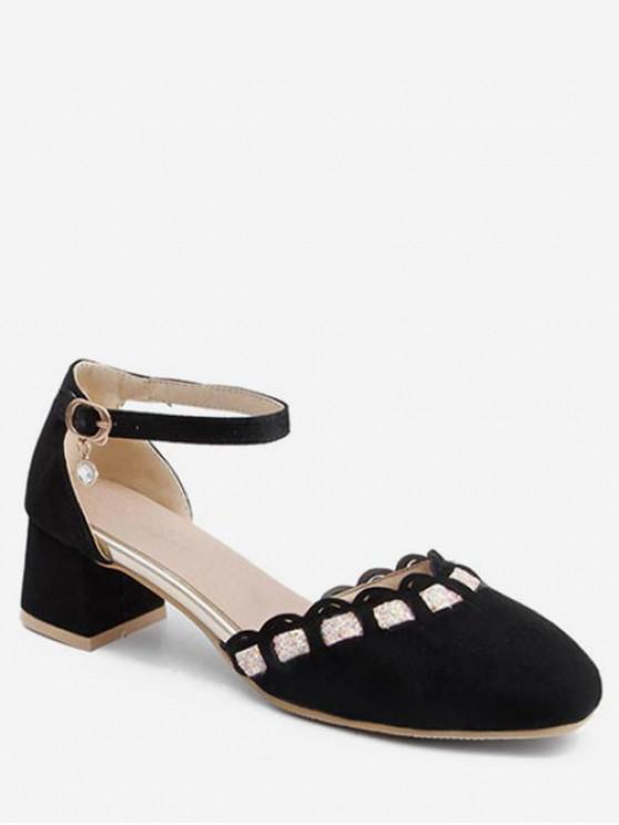 buy Wavy Design Chunky Heel Suede Pumps - BLACK EU 42